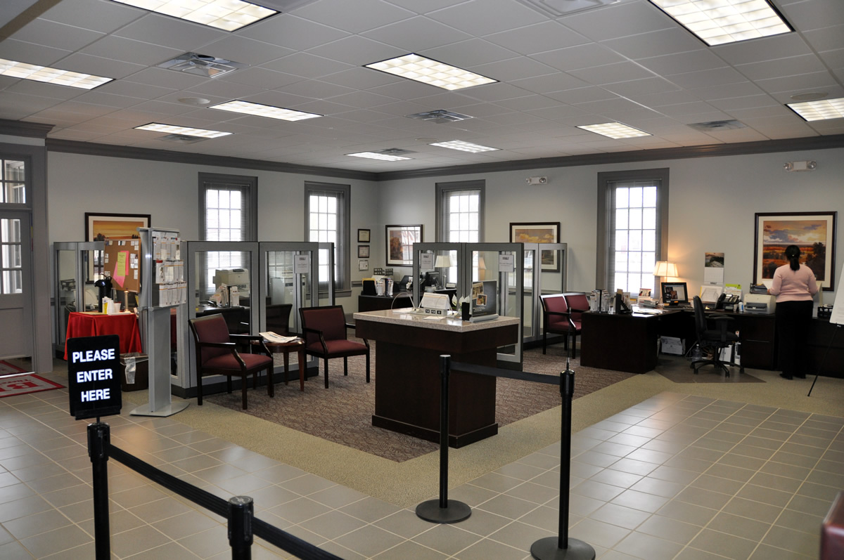 Newly renovated interior of BB&T lobby by Cypress Contracting