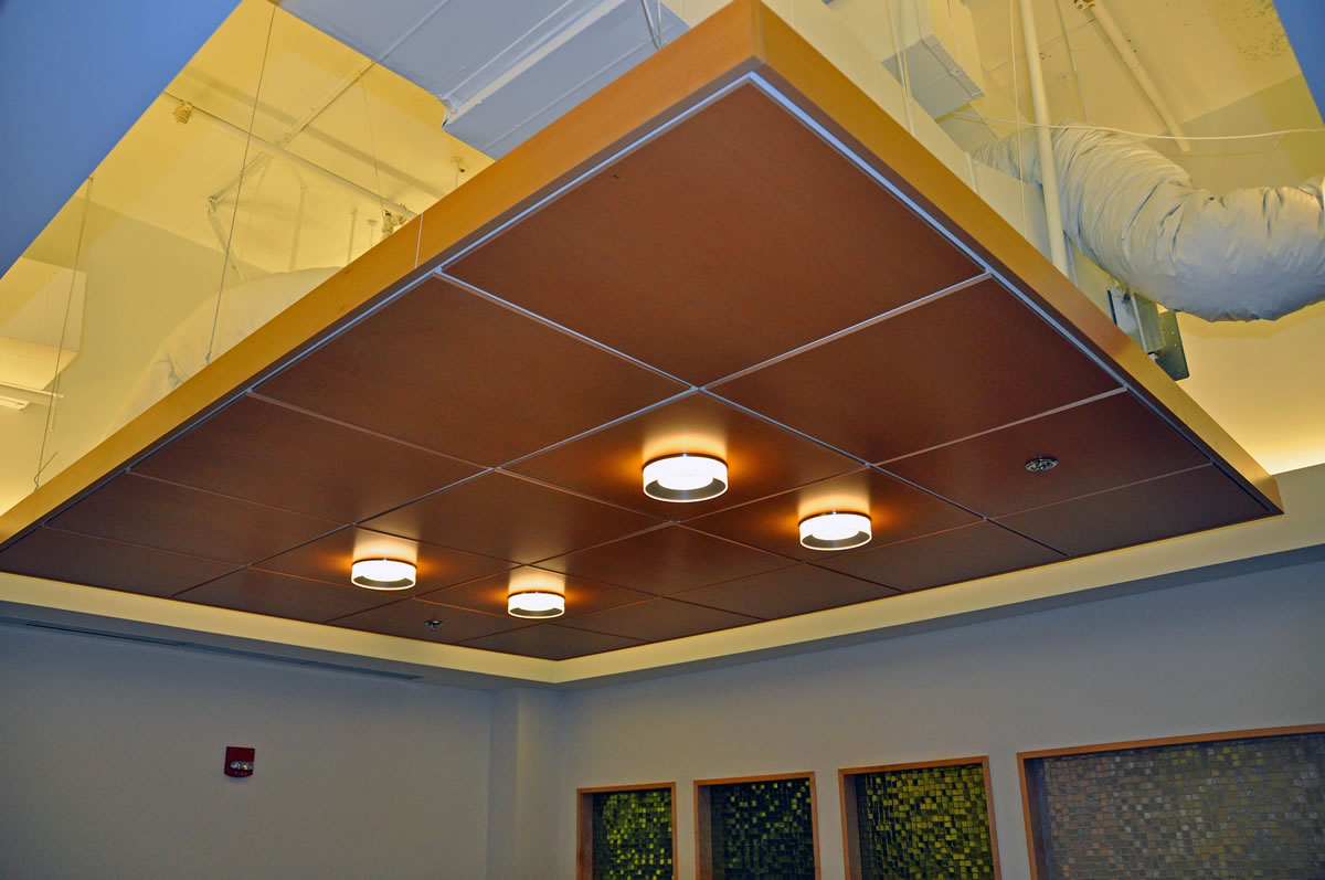 Woodworks Vector ceiling systems, Armstrong Soundscape Clouds