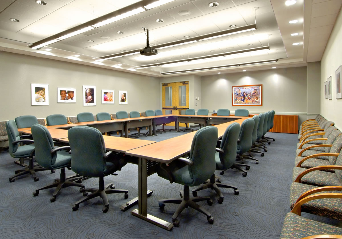 Renovated training room/conference room by Cypress Contracting