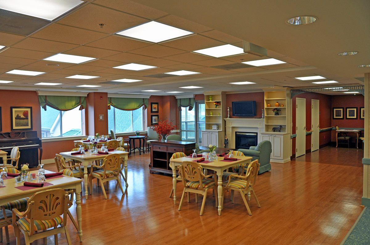 Public dining room renovations at Riderwood living facility